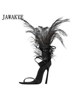 Jawakye Black Feather Sandals For Women Ostrich Hair Decor Thin High Heels Dance Shoes Ladies Fur Sandals T Show Party Shoes by Ali Express