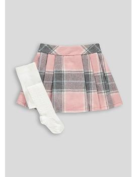 Girls Check Skirt & Tights Set (9mths 6yrs) by Matalan
