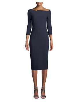 Roland Mouret Witham 3/4 Sleeve Asymmetric Boat Neck Dress by Roland Mouret