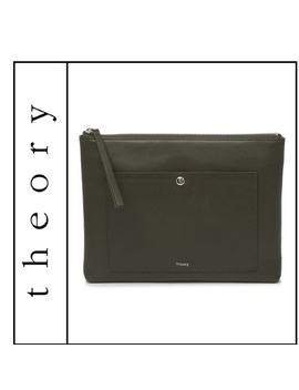Nwt { Theory } Zip Pouch With Pocket In FatigueNwt by Theory