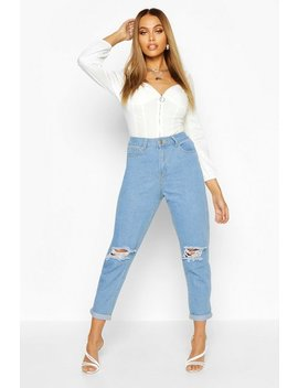 Mid Rise Distressed Boyfriend Jeans by Boohoo