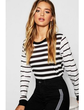 Long Sleeve Stripe T Shirt by Boohoo