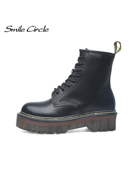 Smile Circle Size 35 42 Flat Platform Boots Women Shoes Autumn Winter Fur Fashion Round Toe Lace Up Leather Boots Ladies Shoes by Ali Express.Com