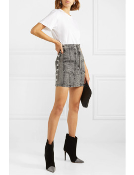 Button Embellished Acid Wash Denim Mini Skirt by Balmain