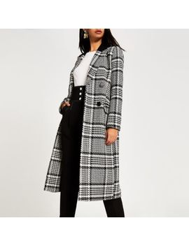 Black Check Double Breasted Longline Coat by River Island