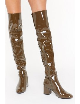 Think Things Over Patent Faux Leather Thigh High Boots by Nasty Gal