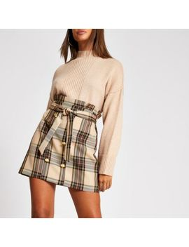Brown Check Button Front Paperbag Mini Skirt by River Island
