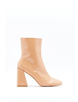 Square Toe Flare Heel Ankle Boot by Nasty Gal
