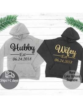 Hubby And Wifey Hoodie, Couple Hoody, Custom Hubby And Wifey Hoodie, Honeymoon Outfits, Couple Matching Hoodie, Couple Sweatshirt by Etsy
