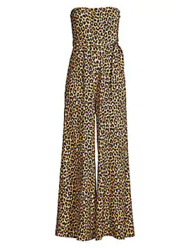 Emile Leopard Strapless Flare Jumpsuit by Likely