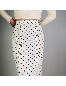 [Vintage] Cream Polka Dot Midi Pencil Skirt by Vintage