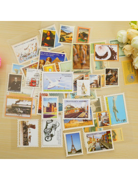 4 Sheets/Lot Vintage Travel Postage Stamp Decoration Paper Sticker Diy Diary Decoration Sticker For Planner Album Scrapbooking by Ali Express.Com