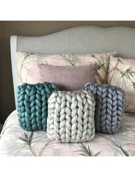 Acrylic Chunky Knit Cushion by Etsy