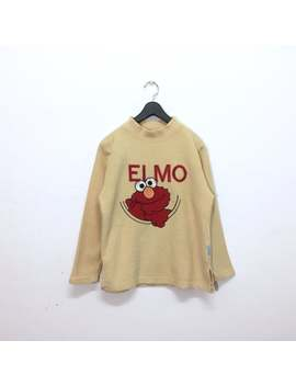 Rare!! Vintage Elmo Sweatshirt Pullover Jumper Embroidery Big Spellout Logo Sesame Street by Etsy