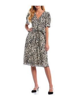Faith V Neck Zebra Print Short Puff Sleeve Tie Waist Dress by Antonio Melani