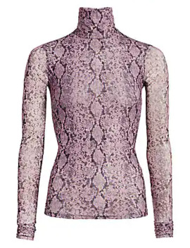 Snake Print Turtleneck Top by Cinq à Sept