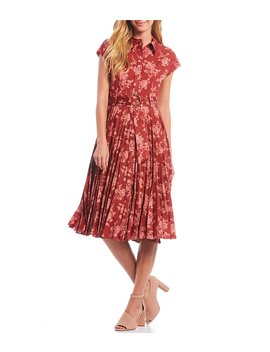 Victor Floral Printed Pleated Faille Belted Waist A Line Midi Dress by Antonio Melani