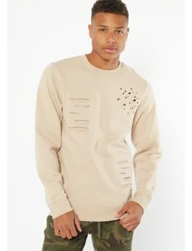 Sand Distressed Crew Neck Sweatshirt by Rue21