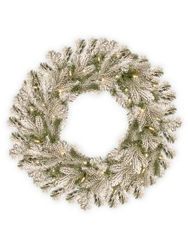 24 In. Battery Operated Snowy Sheffield Spruce Wreath With Warm White Led Lights by National Tree Company