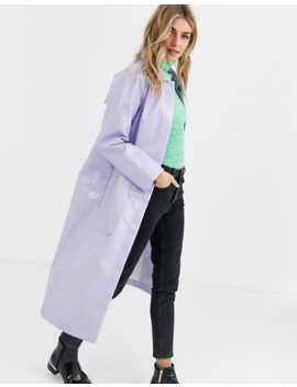 Asos Design – Trenchcoat In Lila Mit Lackoptik by Asos