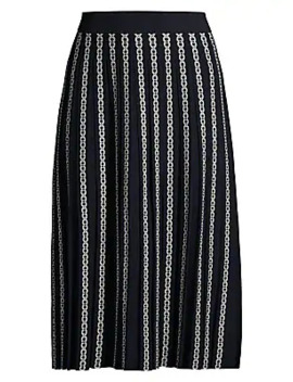 Gemini Link Jacquard Pleated Skirt by Tory Burch