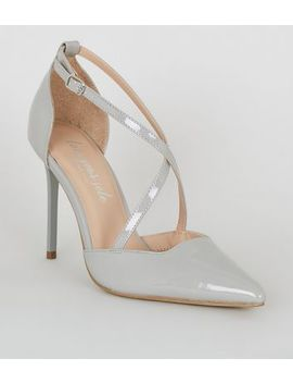 Grey Patent Cross Strap Pointed Stiletto Courts by New Look