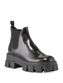 Spazzolato Leather Lug Platform Boots by Prada