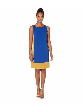 Soft Crepe Two Tone Sleeveless Panel Hem Dress by Nine West