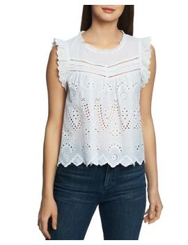 Sleeveless Cotton Eyelet Top by 1.State