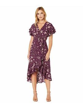 Short Sleeve Woven Wrap Dress by Maxstudio