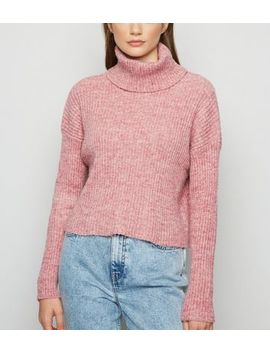 Mid Pink Ribbed Knit Roll Neck Jumper by New Look
