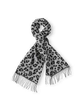 Scoop Fuzzy Wide Animal Print Fringe Scarf by Scoop