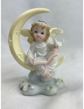 "Angel Sitting On Moon Resin Figurine 4""H by Ebay Seller"