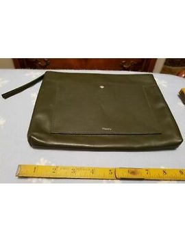 Theory~Linden Fatigue Green Leather Zip Top Large Clutch Wallet Purse~Nwt Jw by Theory
