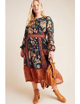 Adair Velvet Trimmed Midi Dress by Anthropologie