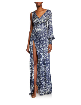 Kasadee One Shoulder High Slit Leopard Print Gown by Alexis