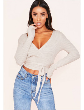 Kai Beige Plunge Wrap Knitted Top by Missy Empire