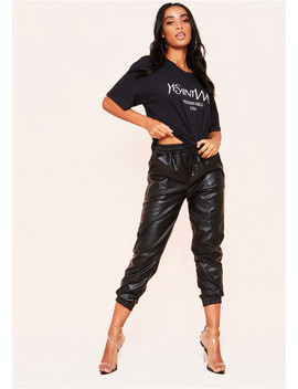 Elaina Black Ye Saint Oversized Slogan T Shirt by Missy Empire