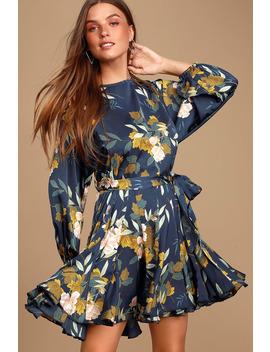 Austrina Navy Blue Floral Print Satin Long Sleeve Mini Dress by Lulus