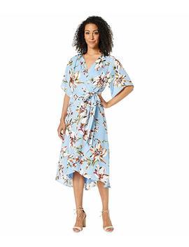 Printed Georgette Tie Wrap Dress W/ High Low Hemline by Tahari By Asl