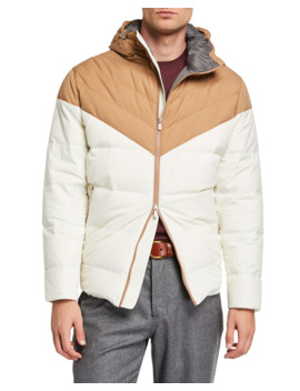 Men's Colorblock Padded Zip Front Hooded Jacket by Brunello Cucinelli