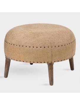 Natural Burlap And Wood Bretta Accent Stool by World Market