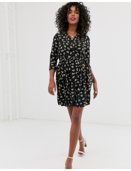 Asos Design Maternity Casual Wrap Mini Tea Dress In Ditsy Floral Print by Asos Design