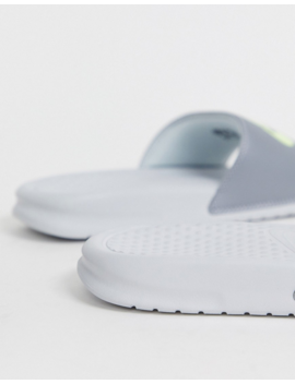 Nike White And Silver Benassi Sliders by Nike