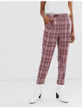 Stradivarius Pants In Pink Check by Stradivarius'