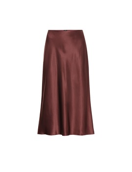 Frances Silk Satin Midi Skirt by Joseph