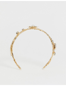 Asos Design Crown Headband With Pearl Crystal And Leaf Embellishment In Gold by Asos Design