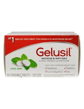 Gelusil Antacid & Anti Gas Cool Mint Chewable Tablets 100 Tabs by Gelusil
