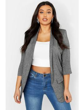 Plus Linen Ruched Sleeve Blazer by Boohoo
