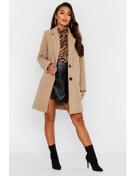 Petite Button Detail Camel Duster Coat by Boohoo